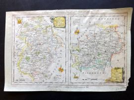 Walpoole & Hogg 1784 Hand Col Map. Bedfordshire & Hertfordshire